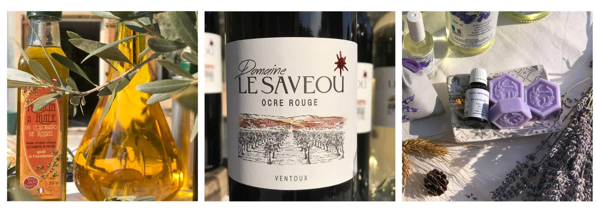 Huile d'olive du Luberon - Huiles essentielles de Lavande | Vin Saveou du Luberon